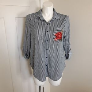 NWT Anthropologie Size 1X Striped Blouse Floral